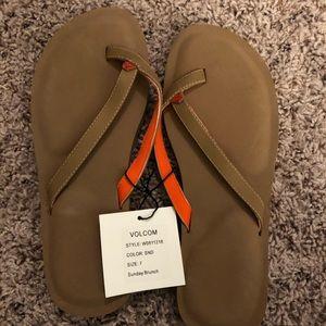 Tan and Orange Women's Volcom Sandals